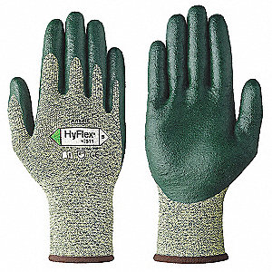 Nitrile Cut Resistant Gloves, ANSI/ISEA Cut Level 4, Stainless Steel Lining, Green, Yellow, L, PR 1