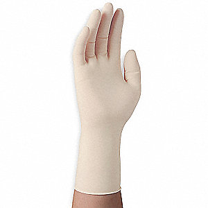 "12"" Powder Free Unlined Textured Latex Disposable Gloves, Natural, Size XL, 50PK"