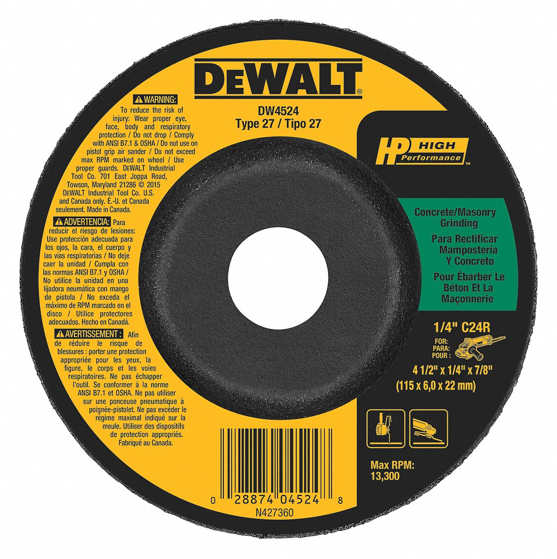 24 Grit 1//4 in Thick Type 27 6 in Dia Depressed Center Wheel Hardness R 45 Pack