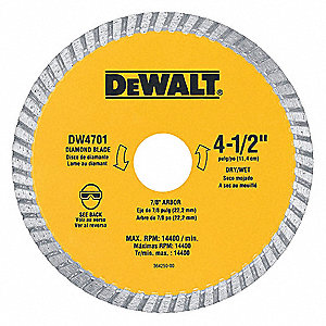 "4-1/2"" Wet/Dry Diamond Saw Blade, Turbo Rim Type"