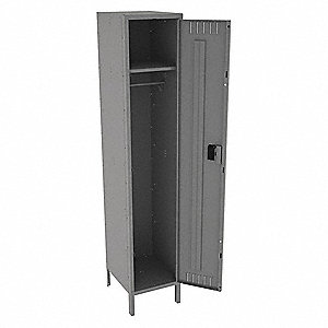 "Gray Wardrobe Locker, (1) Wide, (1) Tier Openings: 1, 15"" W X 18"" D X 78"" H"