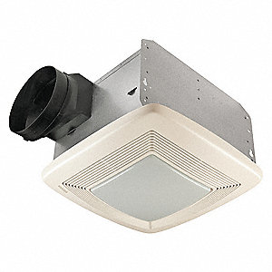 "11-3/8"" x 10-1/2"" x 7-5/8"" Bathroom Fan, 80 CFM, 0.8 Amps"