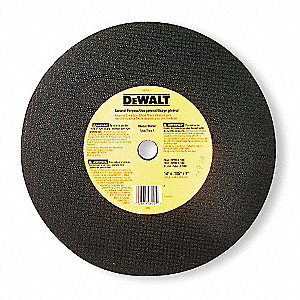 "14"" Type 1 Aluminum Oxide Abrasive Cut-Off Wheel, 1"" Arbor, 0.1094""-Thick, 4300 Max. RPM"