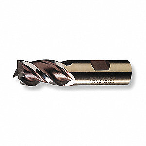 "Square End Mill, 3/16"" Milling Diameter, Number of Flutes: 4, 1/2"" Length of Cut, Bright, HG-4C"