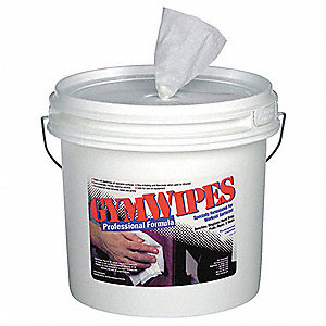 "Germicidal Gym Equipment Wipes, 8"" x 7"", 700 Wipes per Container, 1 EA"