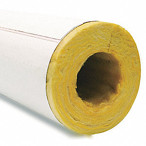 "Fiberglass Pipe Insulation, 2""Wall Thickness, Hinged with Self Sealing Lap"