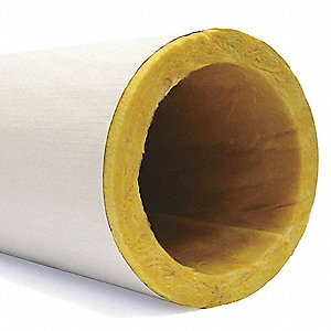 "Fiberglass Pipe Insulation, 1-1/2"" Wall Thickness, Hinged with Self Sealing Lap"