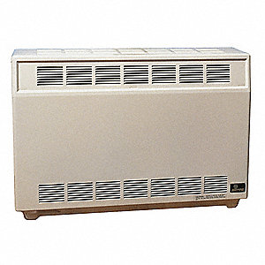 "Gas Fired Room Heater, LP, BtuH Output 17,500, 4"" Vent, Width 37"", Height 26"", Depth 18-3/8"""