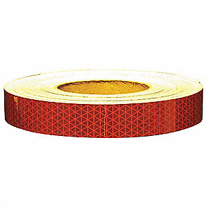 REFLECTIVE TAPE,W 1 IN, L 50 YD,RED