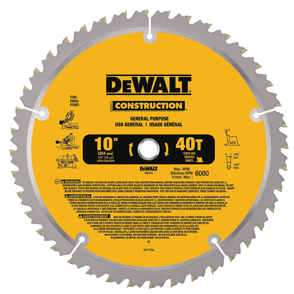 Dewalt circular saw bldcrbde10 in40 teeth 4lk58dw3114 grainger zoom outreset put photo at full zoom then double click 10 carbide combination circular saw blade keyboard keysfo Gallery