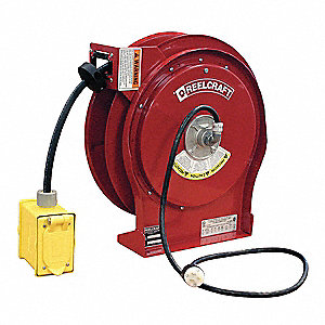 Retractable Cord Reel, 15 Max. Amps, Cord Ending: Duplex GFCI Box Receptacle, 50 ft. Cord Length