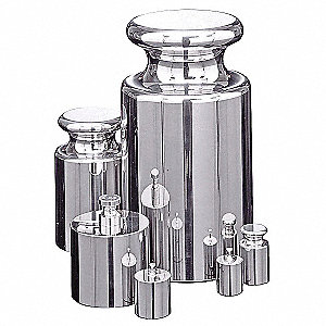 50g to 1g Calibration Weight Kit, Cylinder Style, Class 4, Traceable - Accredited, Stainless Steel