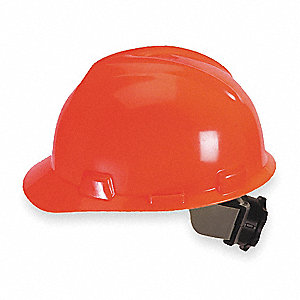 Front Brim Hard Hat, 4 pt. Ratchet Suspension, Hi-Visibility Orange, Hat Size: 6-1/2 to 8