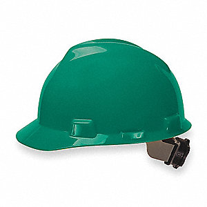 Front Brim Hard Hat, 4 pt. Ratchet Suspension, Green, Hat Size: 6-1/2 to 8""