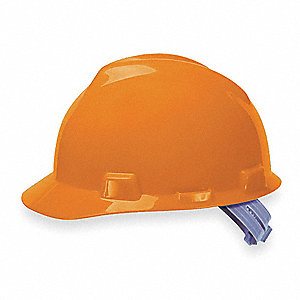 V-Gard Class E Front Brim Hard Hat, Pinlock Suspension, Orange, Hat Size: 6-1/2 to 8
