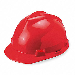 Front Brim Hard Hat, 4 pt. Pinlock Suspension, Red, Hat Size: One Size Fits Most