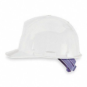 Front Brim Hard Hat, 4 pt. Pinlock Suspension, White, Hat Size: One Size Fits Most