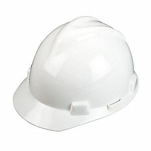 Front Brim Hard Hat, 4 pt. Ratchet Suspension, White, Hat Size: Universal
