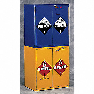 "30"" x 18-1/2"" x 32-5/8"" Plywood Flammable Liquid Safety Cabinet with Manual Doors, Yellow"