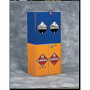"(18) 1 gal. Bottles Flammable Cabinet, 32-5/8"" x 30"" x 18-1/2"", Self-Closing Door Type"