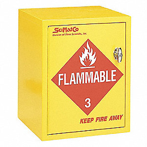 "16-3/4"" x 15-3/4"" x 21-1/4"" Plywood Flammable Liquid Safety Cabinet with Manual Doors, Yellow"