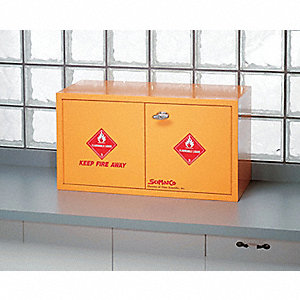 "31"" x 14-1/2"" x 17"" Plywood Flammable Liquid Safety Cabinet with Self-Closing Doors, Yellow"