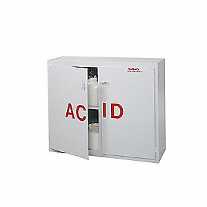 "48"" x 18-1/2"" x 40"" Polypropylene Acid Safety Cabinet, White"