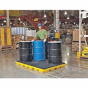 Spill Containment Pallets, Uncovered, 75 gal. Spill Capacity, 12,000 lb.