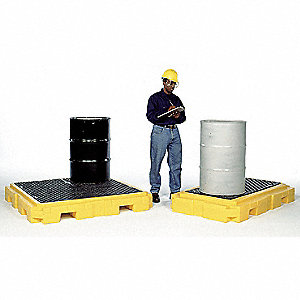 Spill Containment Pallets, Uncovered, 66 gal. Spill Capacity, 4500 lb.