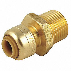 "DZR Brass Male Reducing Adapter, 1/4"" x 1/2"" Tube Size"