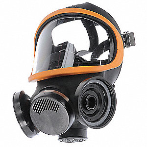 Threaded Connection Full Face Respirator, 5 Point Suspension, L
