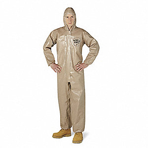Hooded Chemical Resistant Coveralls with Elastic Cuff, Tan, 3XL, Tychem® CPF 3