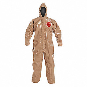 Hooded Coverall,Open,Tan,2XL,PK6