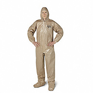Hooded Chemical Resistant Coveralls with Elastic Cuff, Tan, 4XL, Tychem® CPF 3