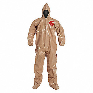 Hooded Chemical Resistant Coveralls with Elastic Cuff, Tan, L, Tychem® 5000