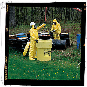 Hooded Chemical Resistant Coveralls with Elastic Cuff, Yellow, XL, Tychem® QC