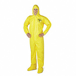 Hooded Chemical Resistant Coveralls with Elastic Cuff, Yellow, 2XL, Tychem® QC