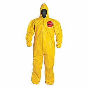 Hooded Chemical Resistant Coveralls with Elastic Cuff, Tychem® 2000 Material, Yellow, XL