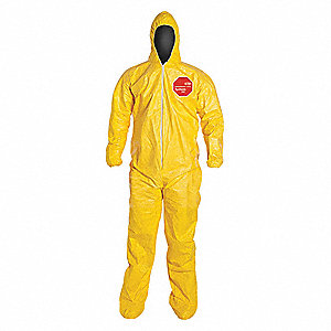 Hooded Chemical Resistant Coveralls with Elastic Cuff, Yellow, L, Tychem® 2000