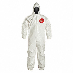 Hooded Chemical Resistant Coveralls with Elastic Cuff, White, 7XL, Tychem® 4000