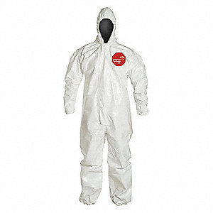 Hooded Chemical Resistant Coveralls with Elastic Cuff, White, 2XL, Tychem® 4000