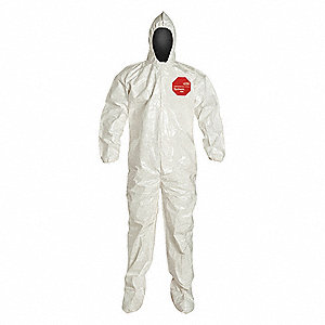 Hooded Chemical Resistant Coveralls with Elastic Cuff, White, M, Tychem® 4000