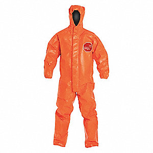 Hooded Chemical Resistant Coveralls with Elastic Cuff, Orange, M, Tychem® 6000 FR