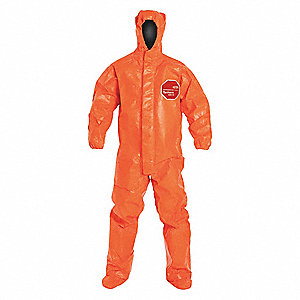 Hooded Chemical Resistant Coveralls with Elastic Cuff, Tychem® 6000 FR Material, Orange, M