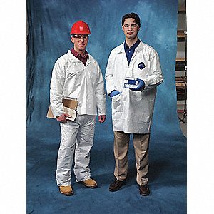 White Tyvek® Disposable Lab Coat, Size: XL