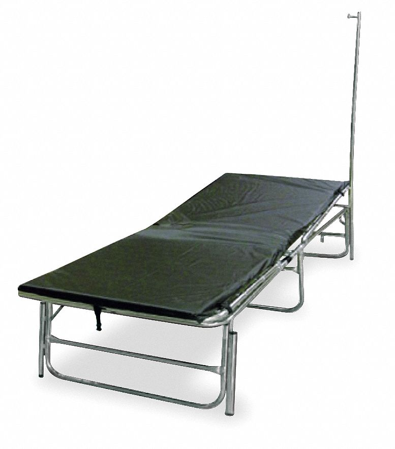 Portable Medical Field Cot with IV Pole,  83 in Length,  28 in Width,  15 in Height