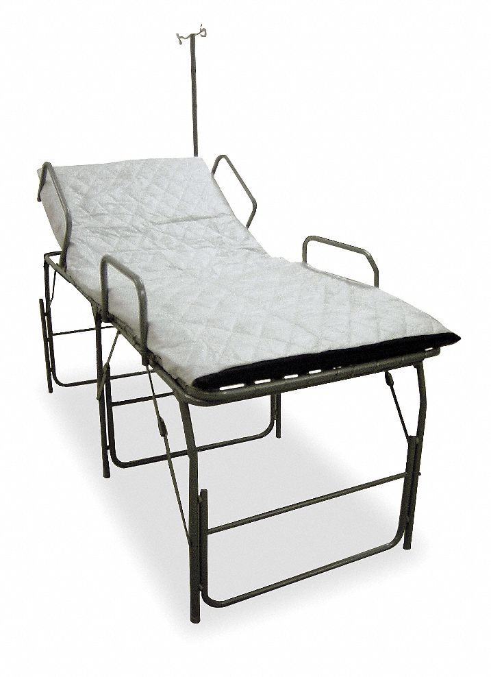 Medical Field Cot with IV Pole,  83 in Length,  33 in Width,  30 in Height,  550 lb Weight Capacity