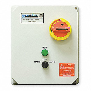 120VAC Selector Switch IEC Combination Starter, 4X Enclosure NEMA Rating, Amps AC: 14 to 20