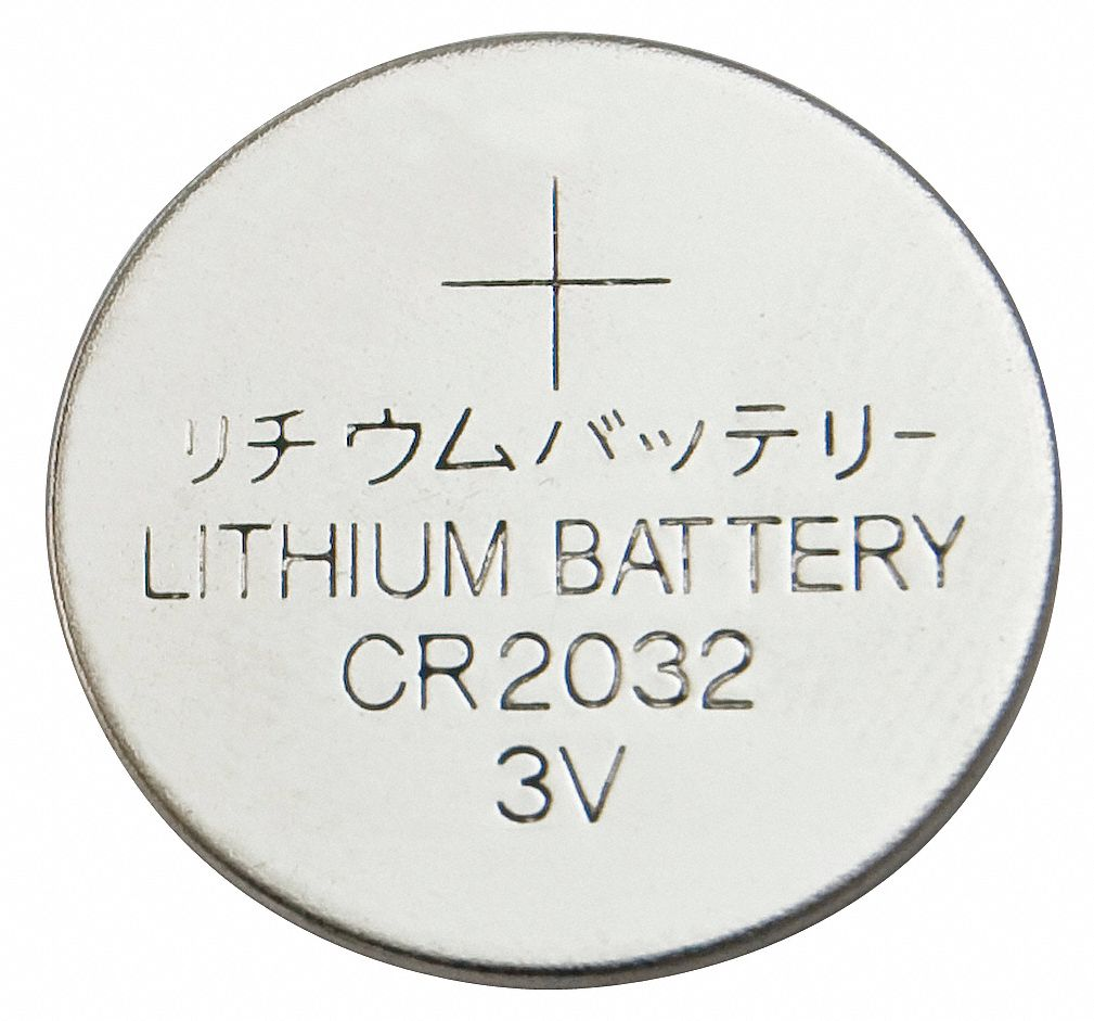 2032,  Coin Cell Battery,  ANSI/IEC,  Lithium,  3V DC,  Diameter 0.782 in,  Depth 0.12 in