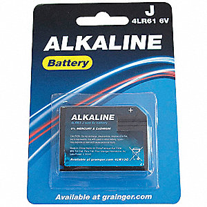 Alkaline Battery, Voltage 6, Battery Size J, 1 EA